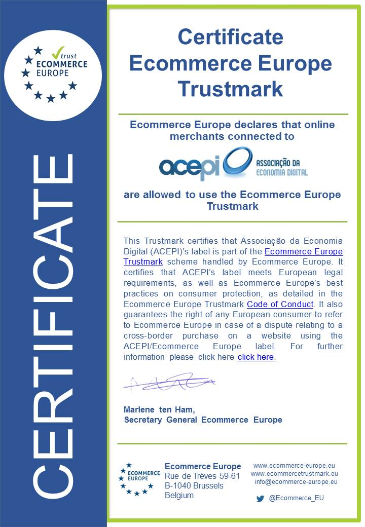 Ecommerce Europe certificate ACEPI