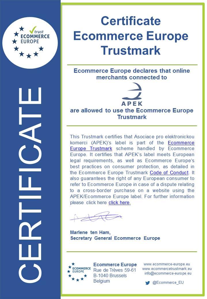 Ecommerce Europe certificate APEK