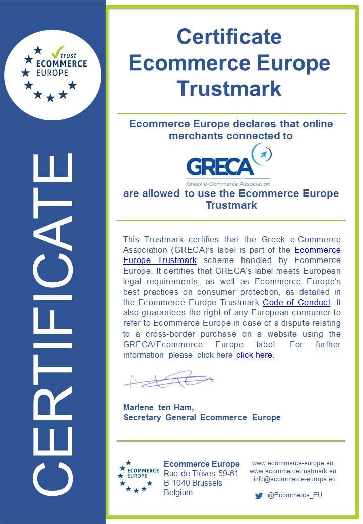 Ecommerce Europe certificate GRECA