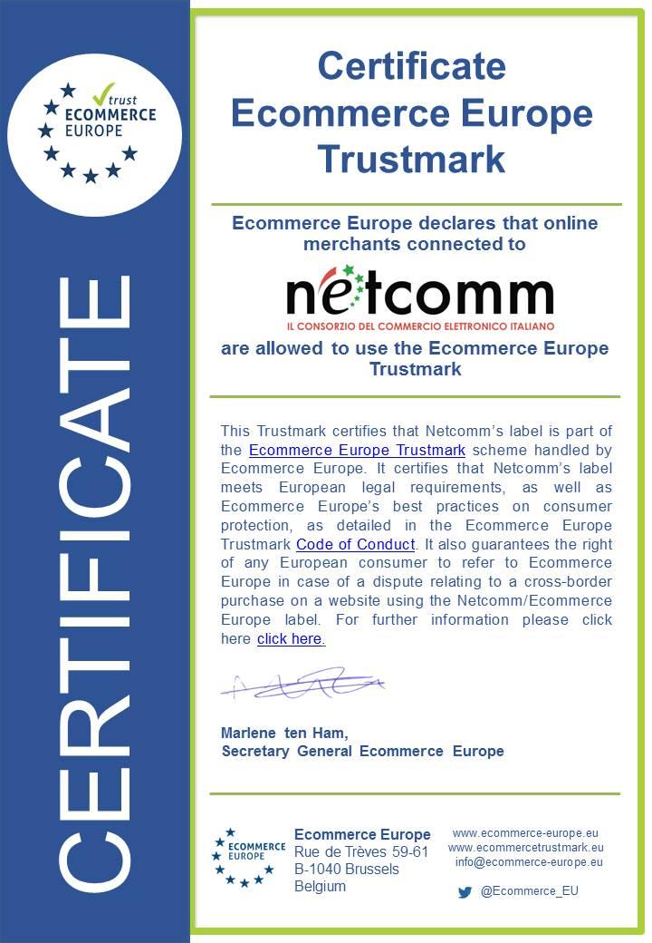 Ecommerce Europe certificate Netcomm