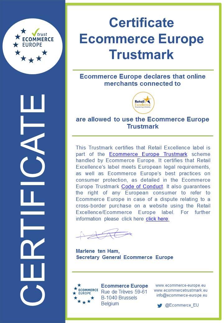 Ecommerce Europe certificate RetailExIreland