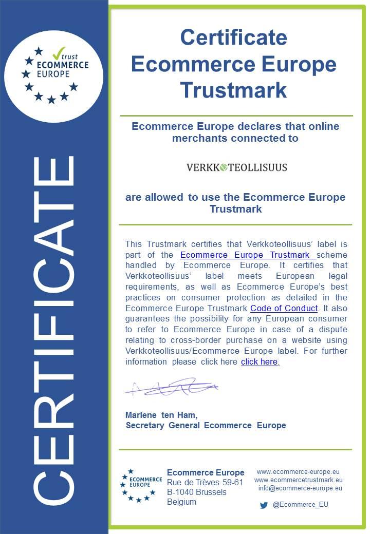 Ecommerce Europe certificate Verkkoteollisuus