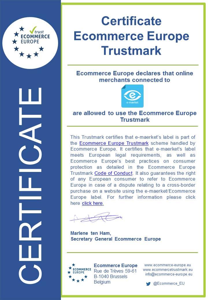Ecommerce Europe certificate e-maerket
